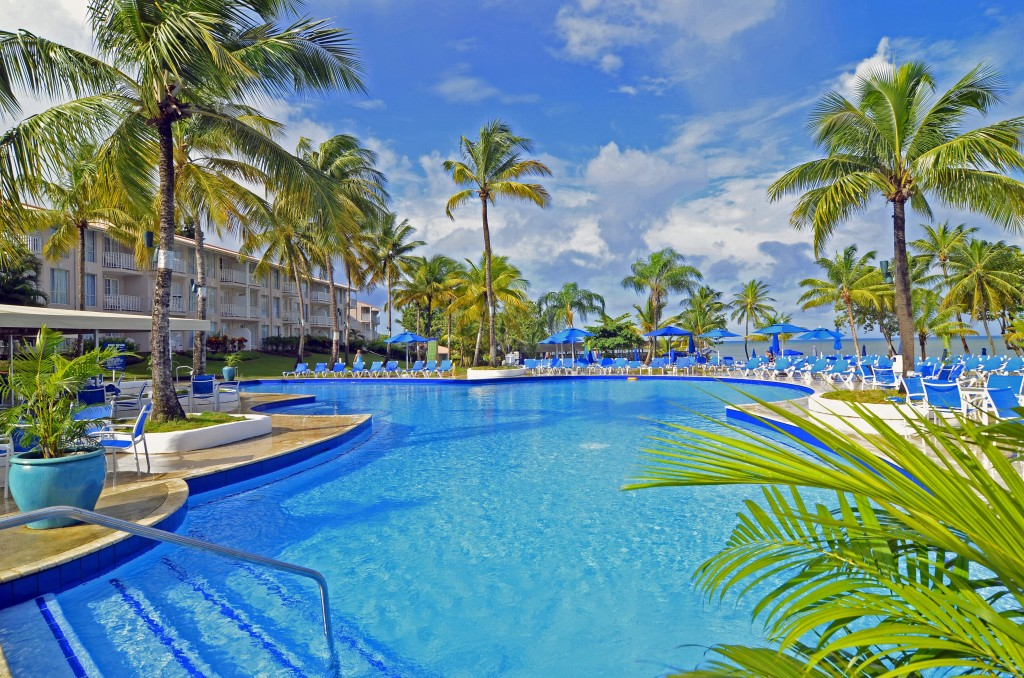 Caribbean; St.Lucia MORGAN BAY Beach Resort main POOL to resort